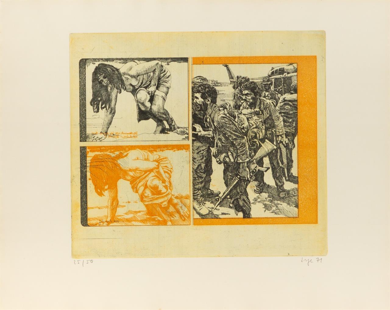 Peter Sorge. Geschichten oder Jungs und Mädels. 1971. 6 Blatt Farbradierungen in OrKartonumschlag. Signiert. Ex. 25/50.