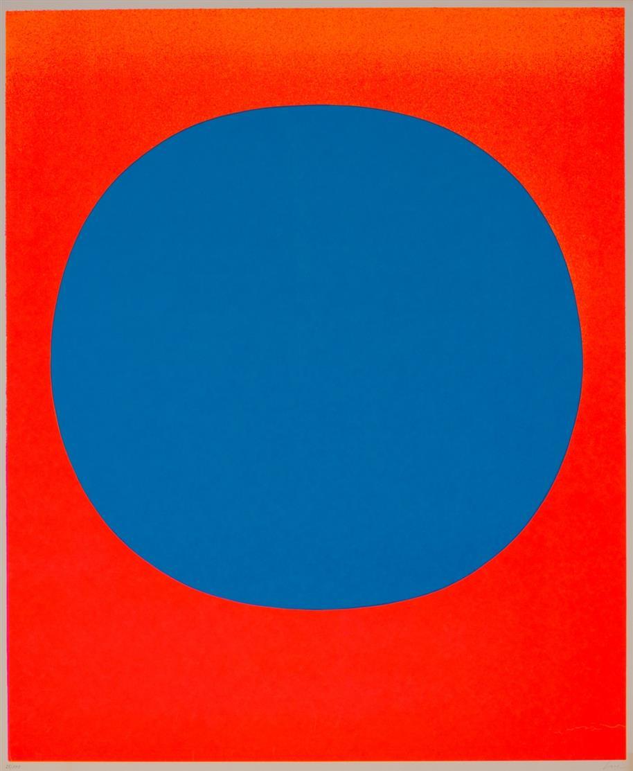 Rupprecht Geiger. Komposition / blau auf leuchtrot und orange. 1969. Farbserigraphie. Signiert. Ex. 25/110. WVG 122.