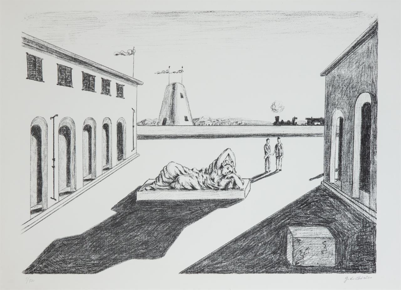 Giorgio de Chirico. Piazza d'Italia. 1969. Lithographie. Signiert. Ex. 5/300.