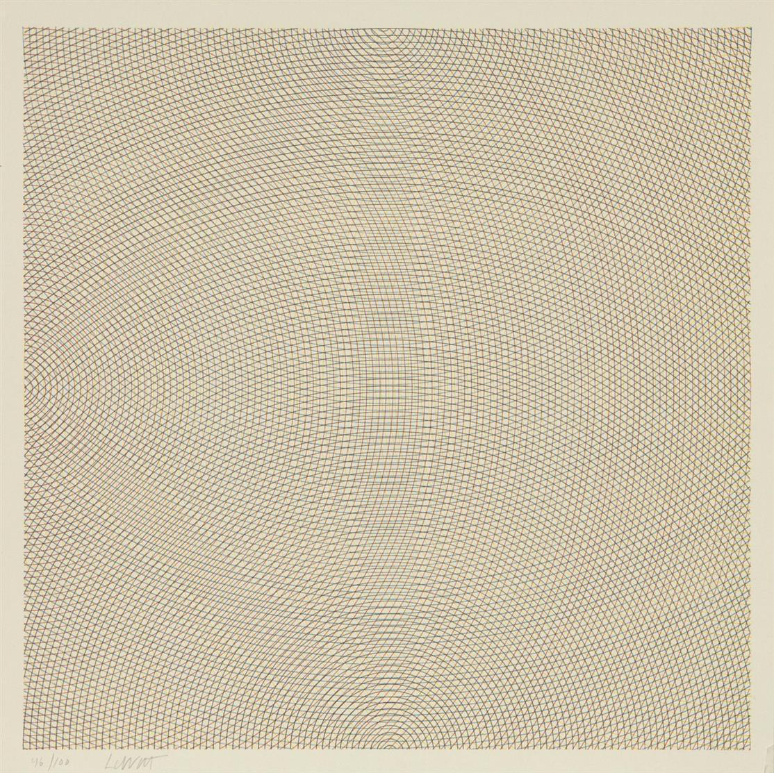 Sol Lewitt. Arcs from corners and sides (Set of two). 1972. 2 Blatt Farbserigraphien. Je signiert. Ex. 46/100.