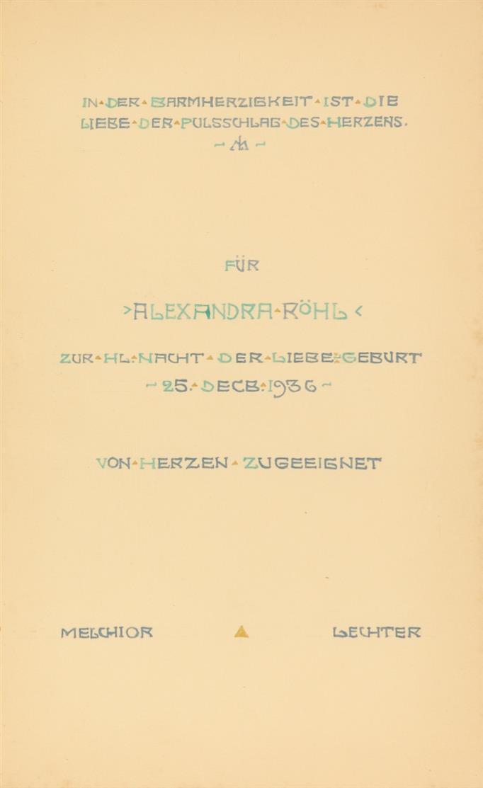 M. Lechter, Ein achtblättriger Lotus. Berlin, Einhorn-Presse 1935 (Opus VII). - Ex. 108. - Widmungsexemplar.