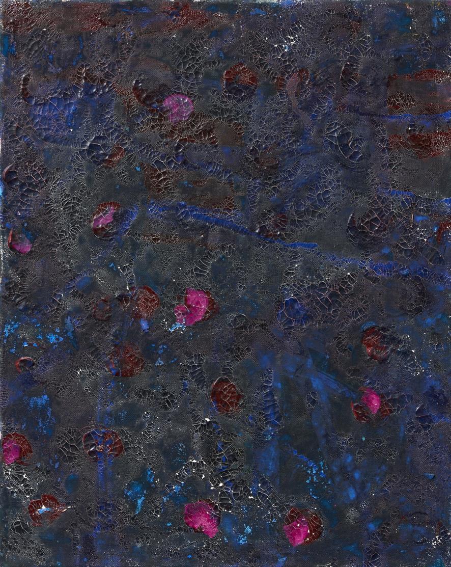Norbert Prangenberg. Bild (rote Punkte auf Schwarz). 1983. Öl auf Leinwand.