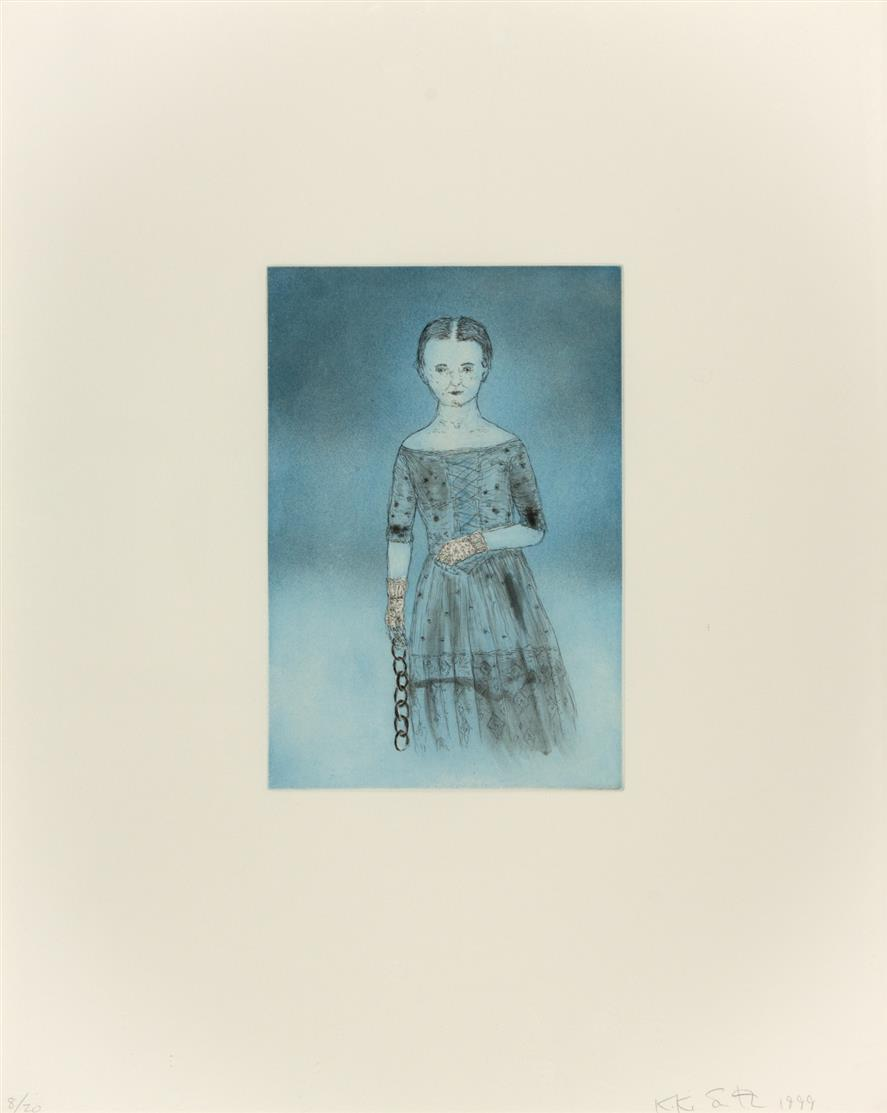 Kiki Smith. Emily D. (Blue Girl from the Blue prints Series). 1999. Farbaquatintaradierung. Signiert. Ex. 8/20.