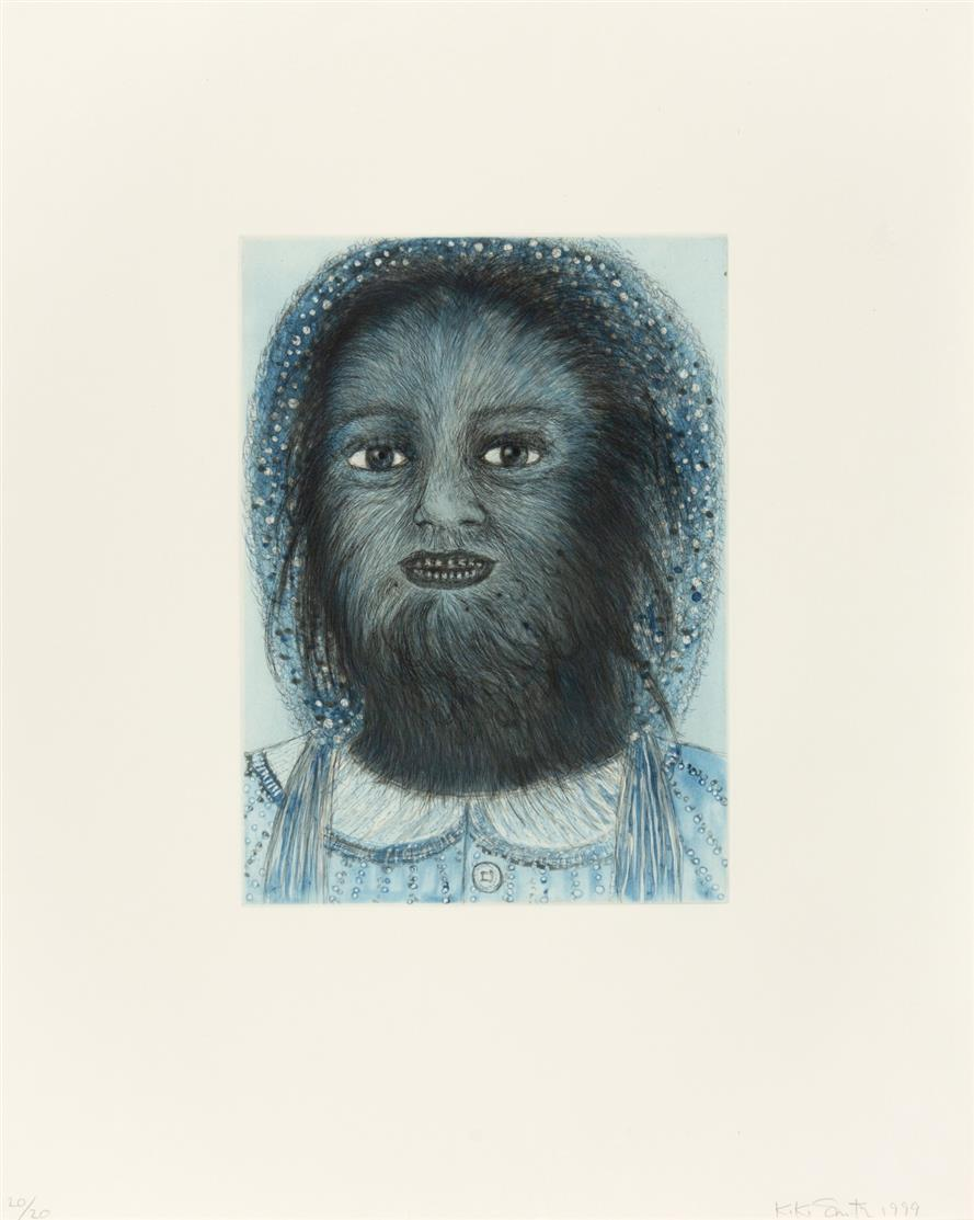 Kiki Smith. Wolf Girl (from the Blue prints Series). 1999. Farbaquatintaradierung. Signiert. Ex. 20/20.