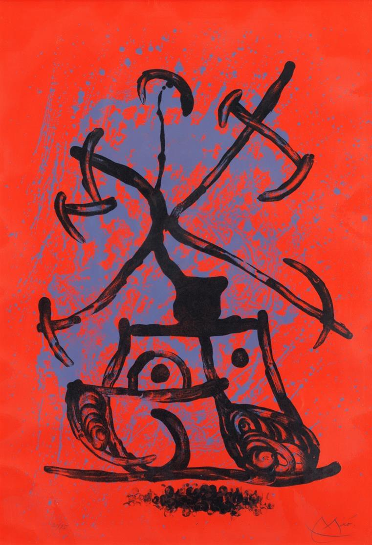 Joan Miró. L'Entraineuse – Rouge. 1969. Farblithographie. Signiert. Ex. 30/75. Maeght 613.