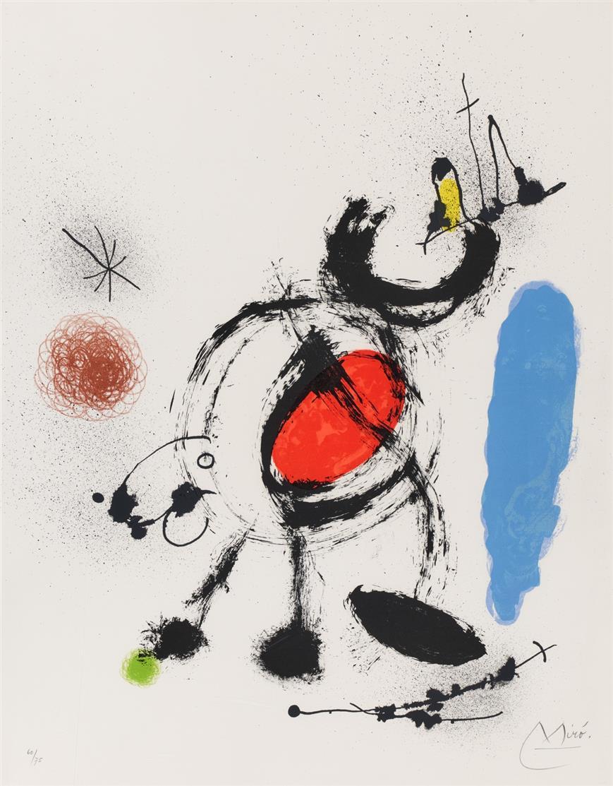 Joan Miró. Aus: L'oiseau migrateur. 1970. Farblithographie. Signiert. Ex. 60/75. Maeght 655.