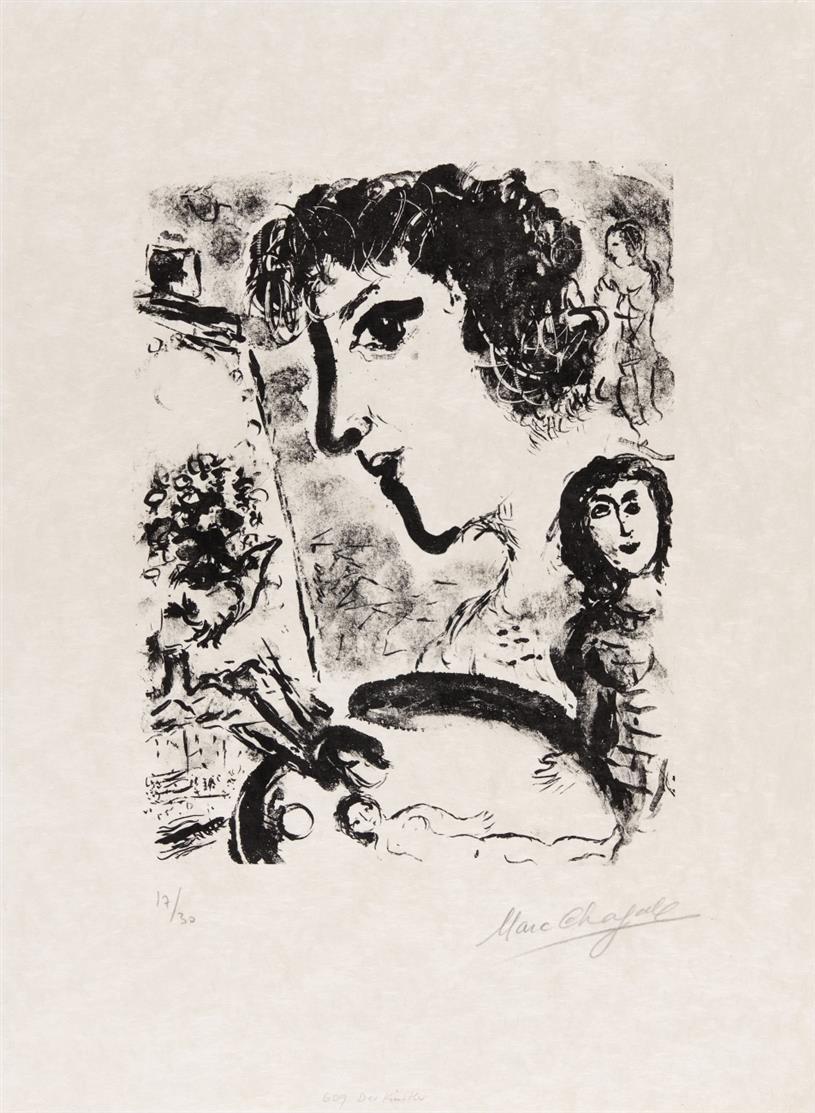 Marc Chagall. L'Artiste. 1970. Lithographie. Signiert. Ex. 17/30. Mourlot 609.