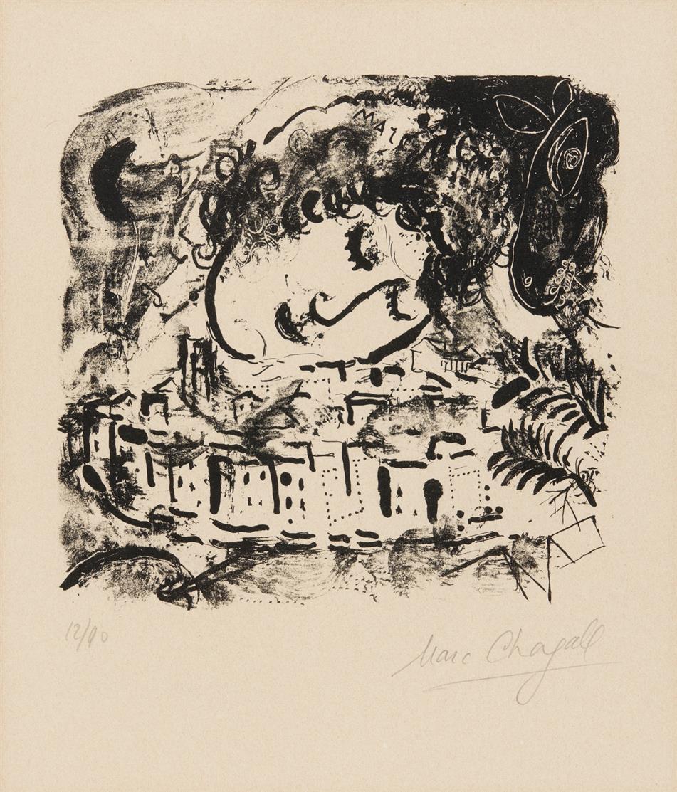 Marc Chagall. Le Village. 1957. Lithographie. Signiert. Ex. 12/90. Mourlot 199.