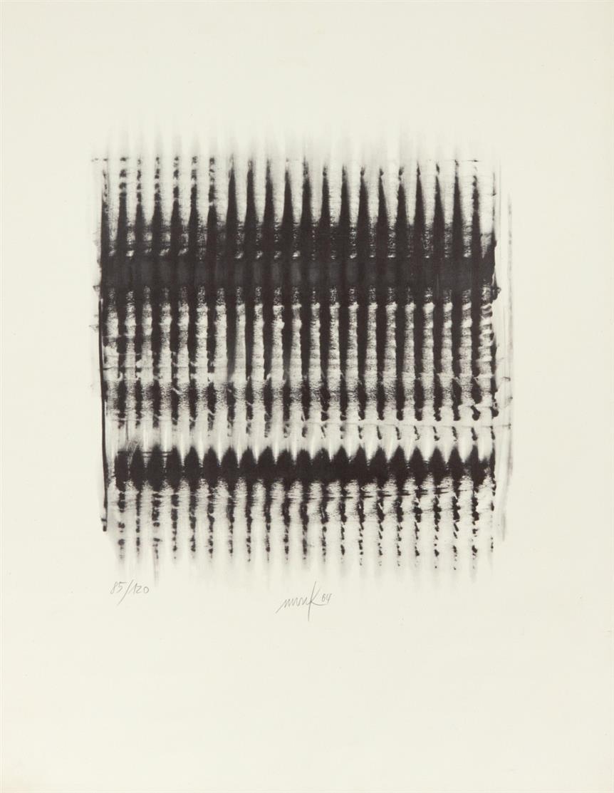 Heinz Mack. Vibration. 1963 (1964). Lichtdruck. Signiert. Ex. 85/120. Mack 37.