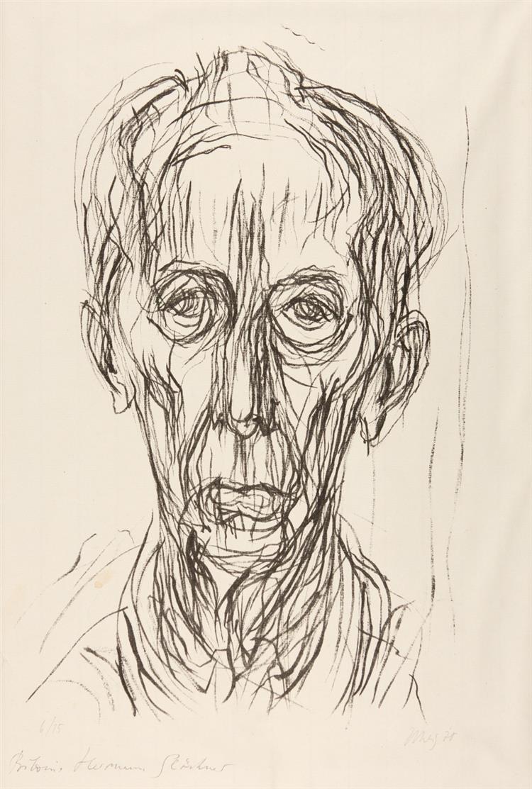 Max Uhlig. Bildnis Hermann Glöckner. 1970. Lithographie. Signiert. Ex. 6/15.