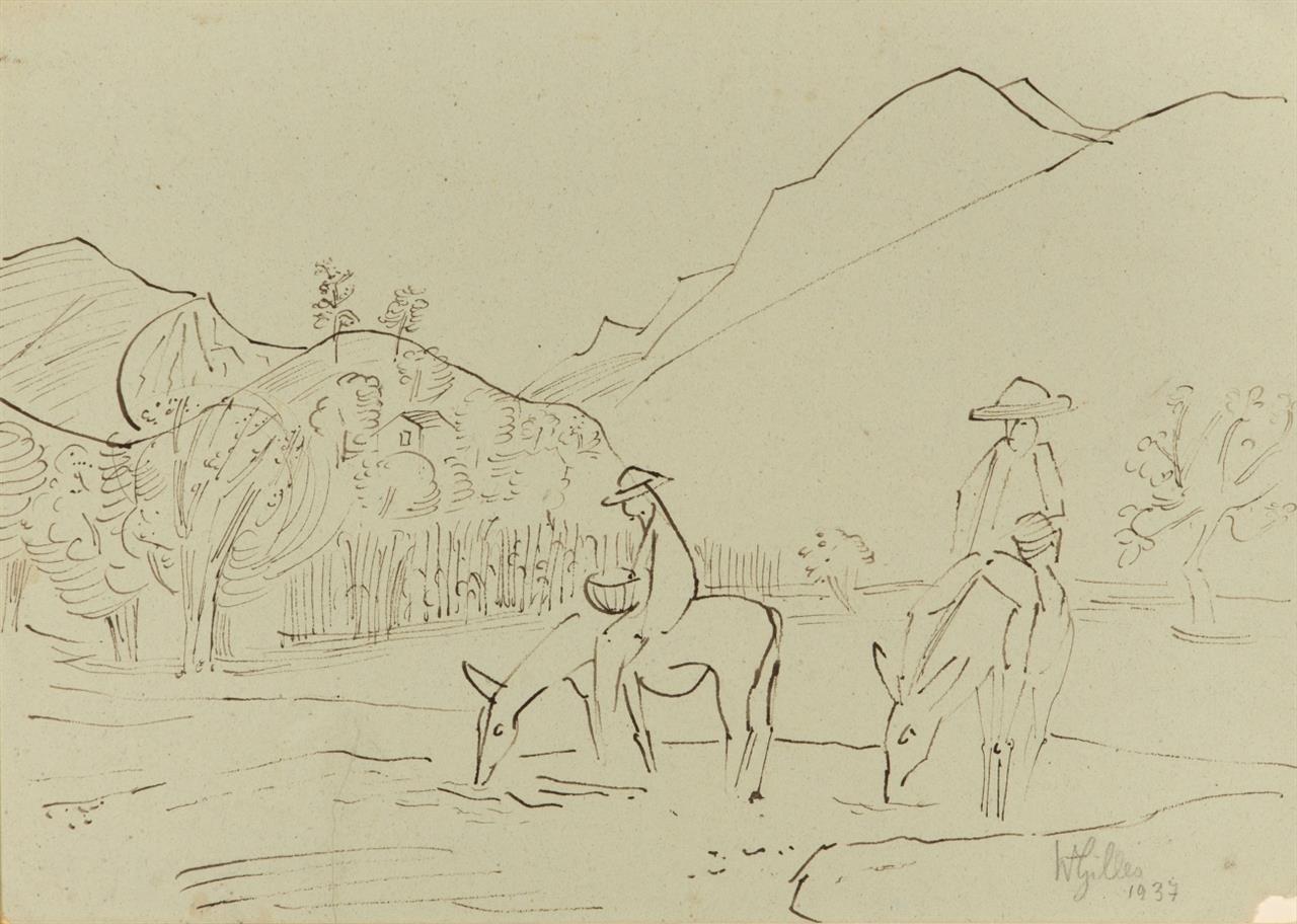 Werner Gilles. Landschaft. 1937. Tusche auf Papier. Signiert.