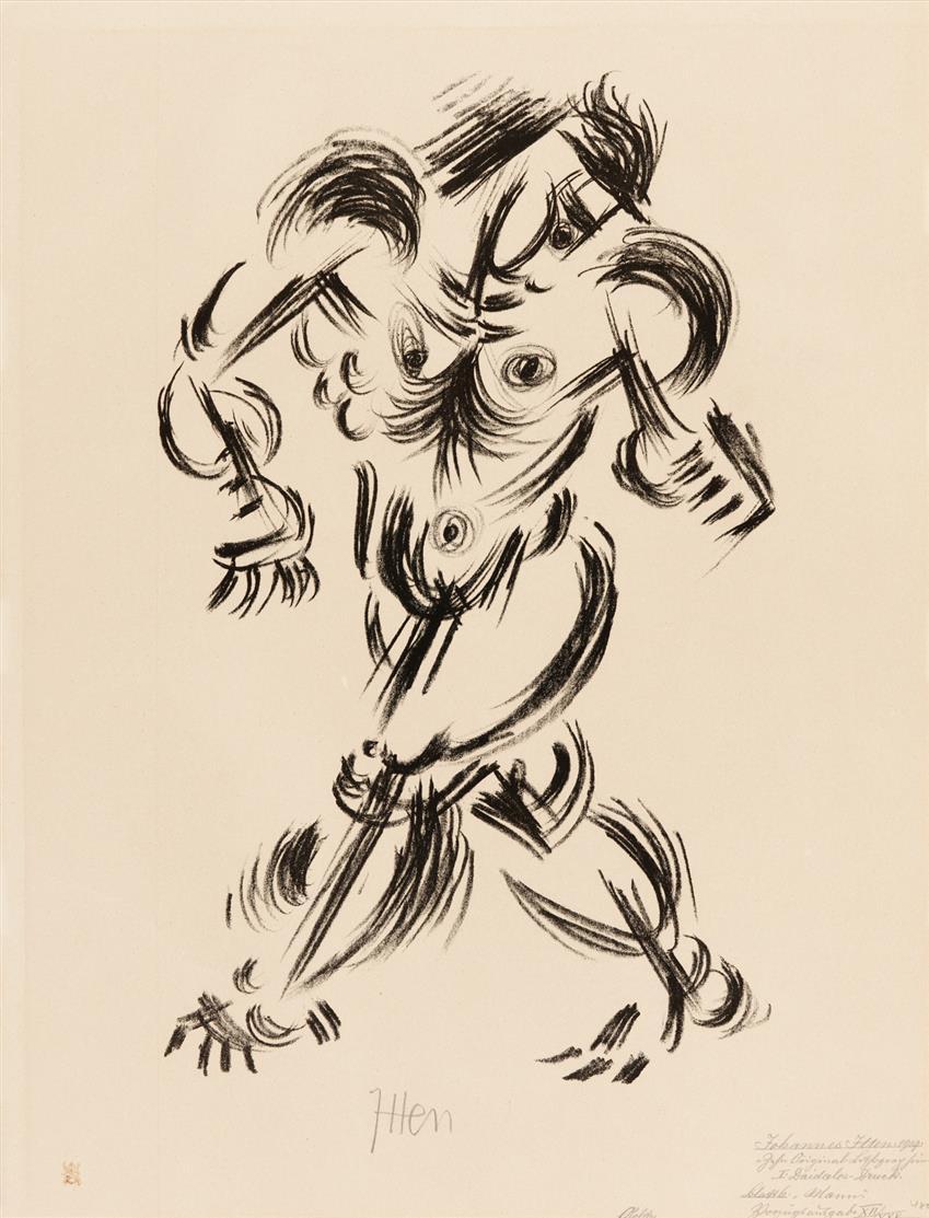Johannes Itten. Mann. 1919. Lithographie. Signiert.