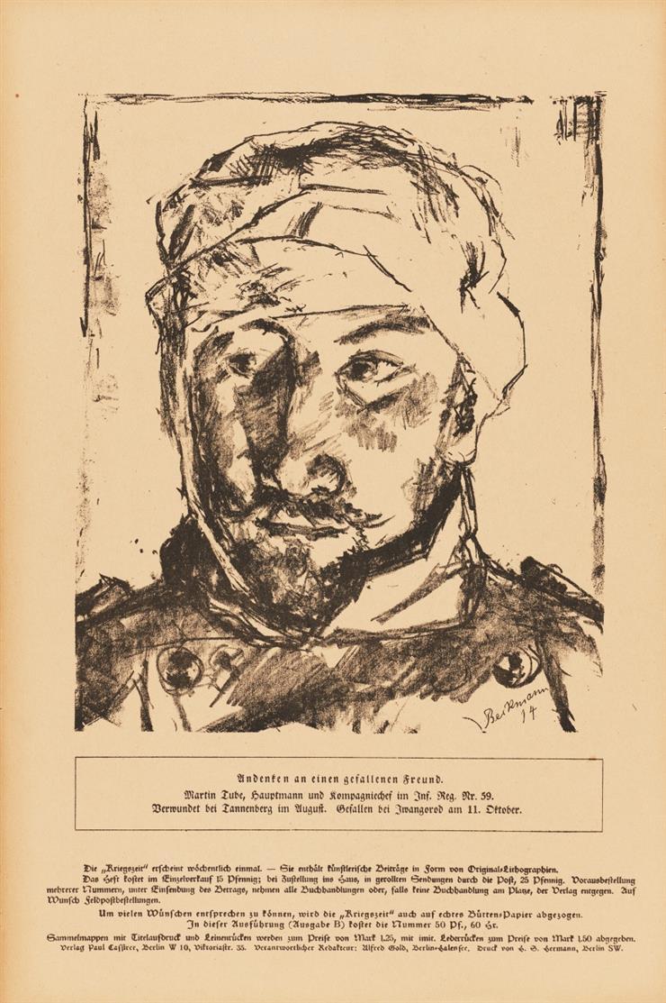 Kriegszeit. Künstlerflugblätter. Hrsg. P. Cassirer u.a. Nr. 2-65 in 62 Heften. Bln. 1914-16. - Dazu Dubl. von Nr. 6 auf Bütten.