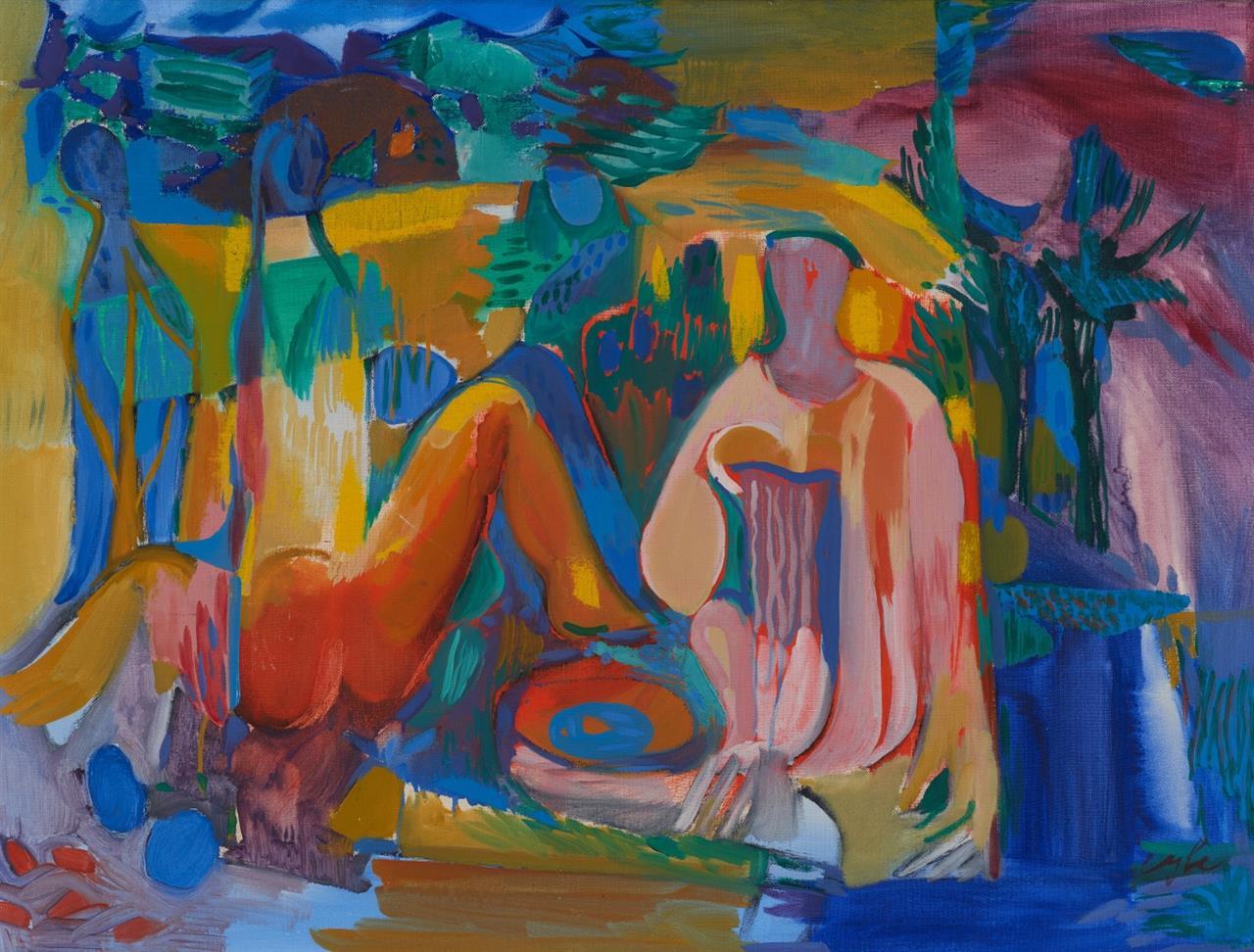 Curt Georg Becker. Mädchen im Walde (Myleran). 1970. Öl auf Leinwand. Monogrammiert.