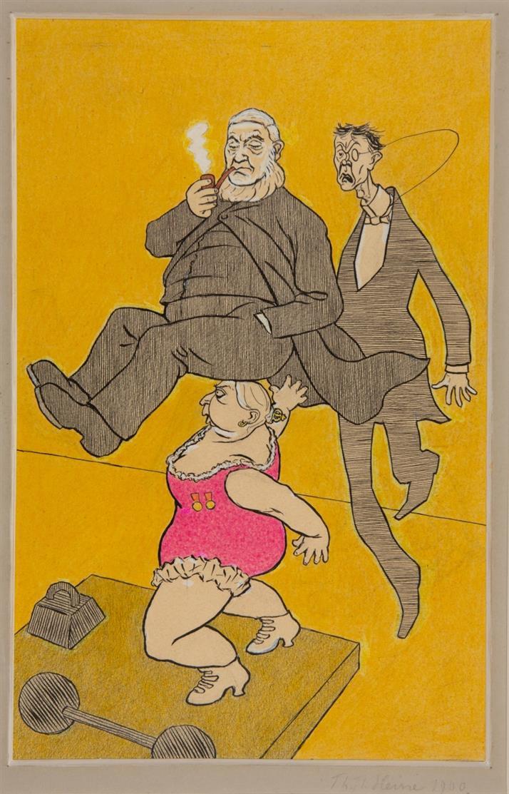 Thomas Theodor Heine. Die Kraftprobe. 1900. Aquarell, Tusche und Deckweiß. Signiert, verso bezeichnet.