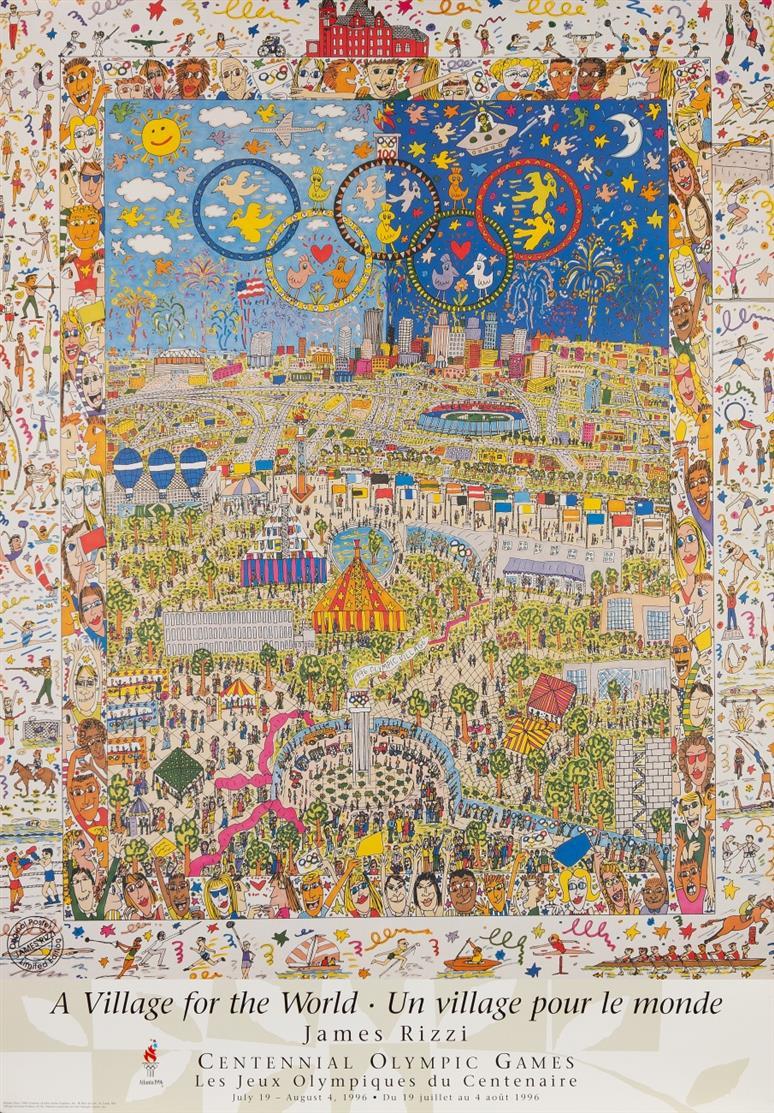 Friedensreich Hundertwasser. Olympische Spiele München 1972. Plakat. Farbgraphik. / Dazu: Rizzi, A Village for the World. Plakat. Farboffset.