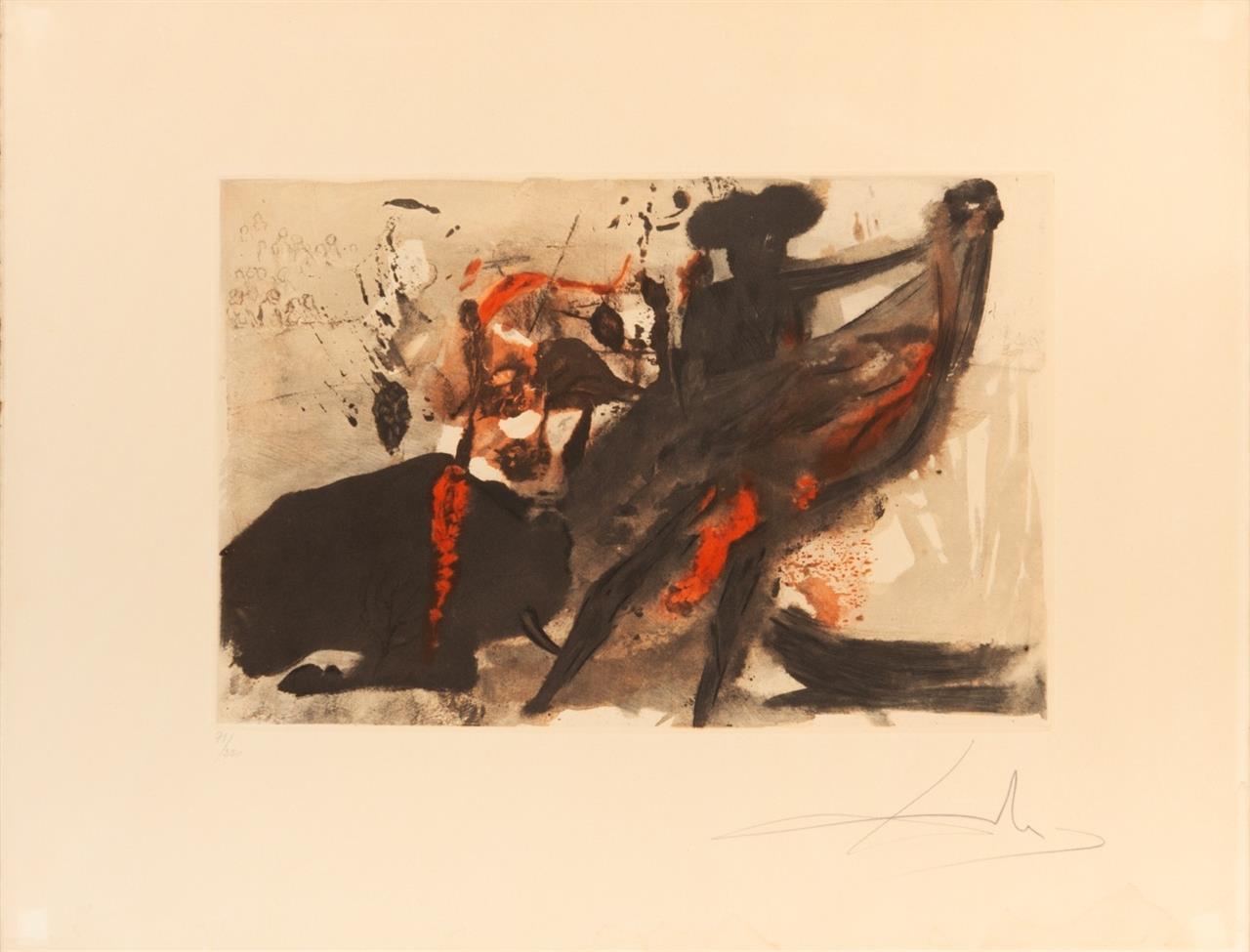 Salvador Dalí. La Tauromachie individuelle. 1966. Farbheliogravure mit Pochoir. Signiert. Ex. 71/250. ML 153b.