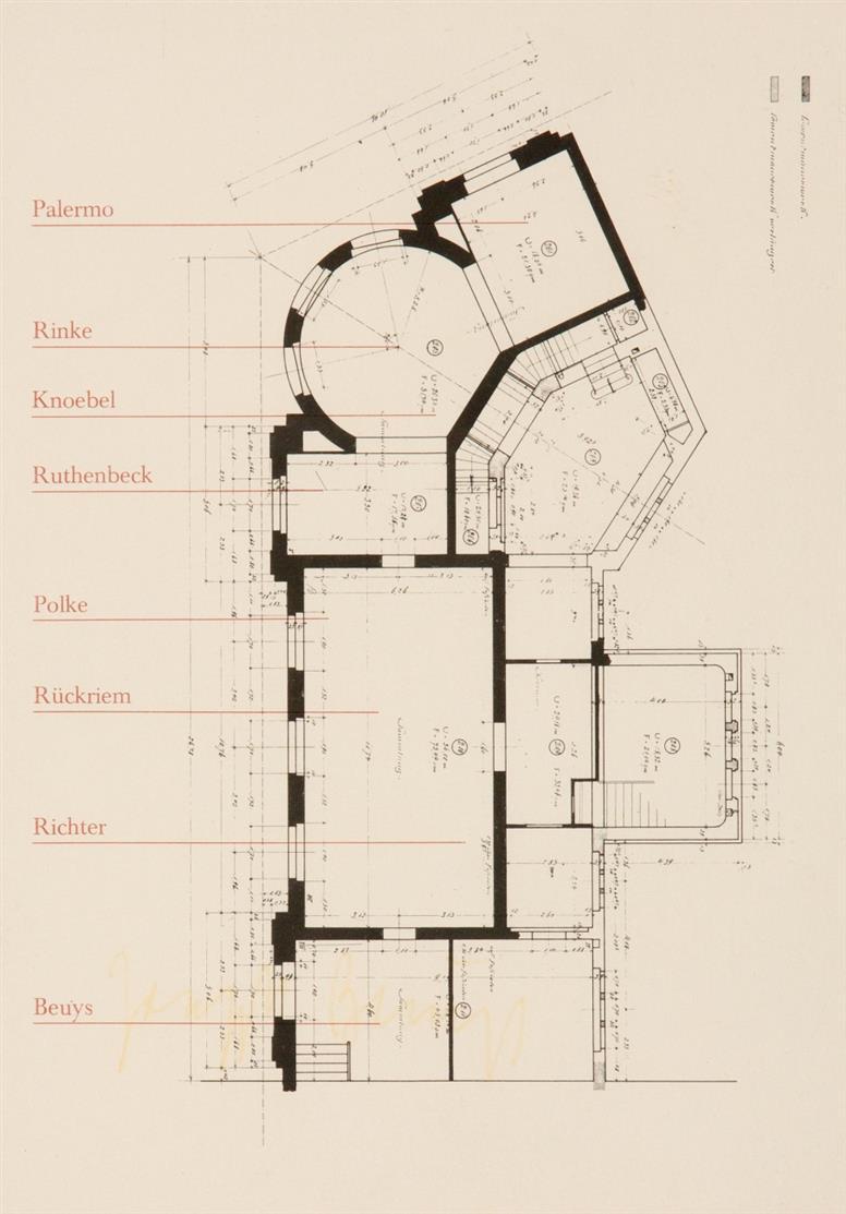 Joseph Beuys. Difesa della natura. 1981. Offset. Signiert. Vgl. Schellmann 378. - Dazu: Swan Woman (1958) / Ausstellungs-Einladung, Kunstmuseum Düsseldorf, 1974. 2 Post- bzw. Einladungskarten. Je Signiert.