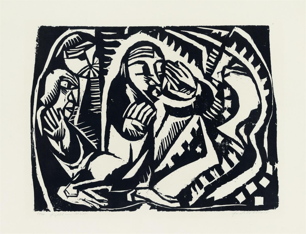 Ewald Mataré. Christus am Meer. 1920. Holzschnitt. Signiert. M/dW 60.