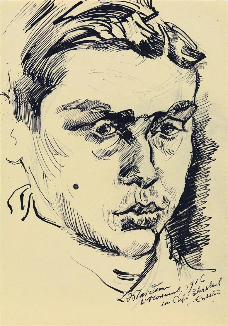 Ludwig Meidner. Im Café Ebersbach. 1916. Tuschfeder und Bleistift. Signiert, datiert und bezeichnet.