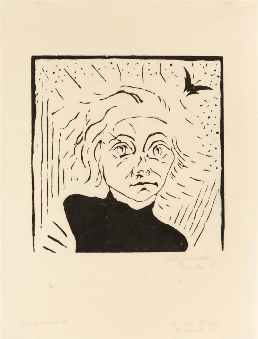 Walter Gramatté. Bildnis Siddi Heckel. 1919. Holzschnitt. Signiert. Handprobedruck. Widmung. E. 22 II.
