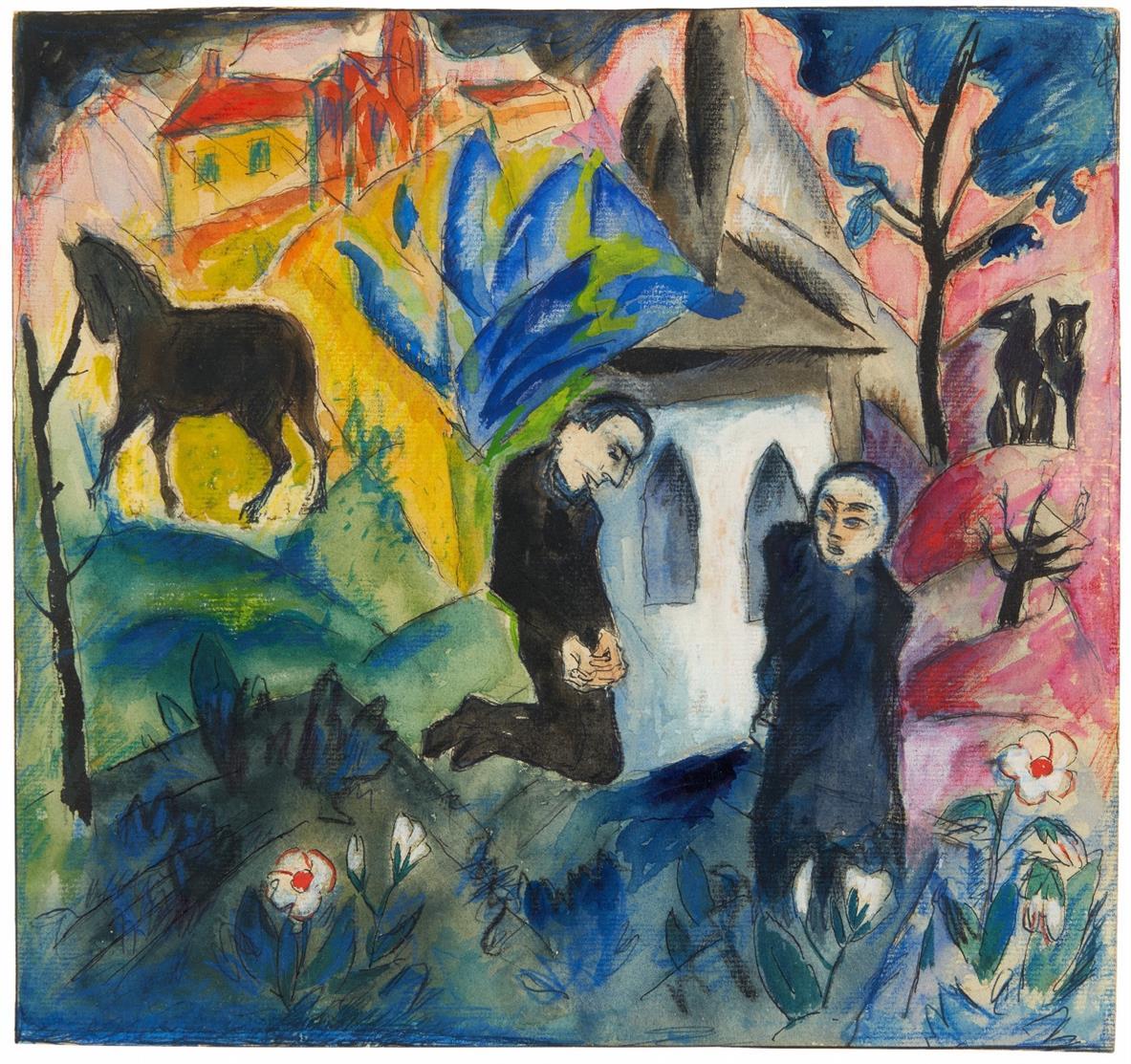 Carl Hentze. Kniendes Paar vor Kapelle in Landschaft. 1920/21. Aquarell, Gouache, Farbkreiden und Tusche. Signiert.
