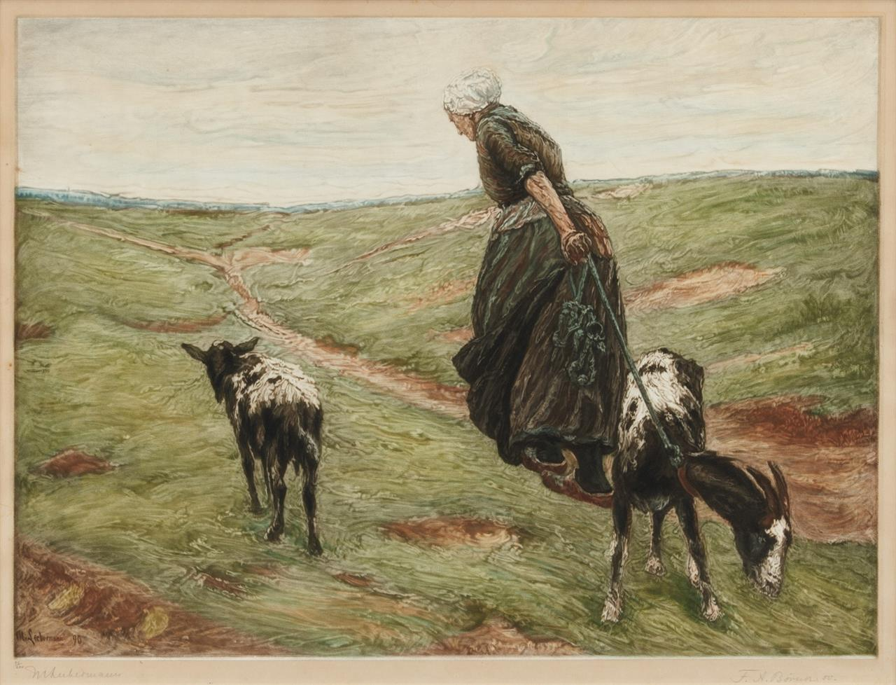 F.A. Börner nach M. Liebermann. Alte Frau mit Ziegen. 1890. Farbheliogravure. Signiert. Ex. 63/200.