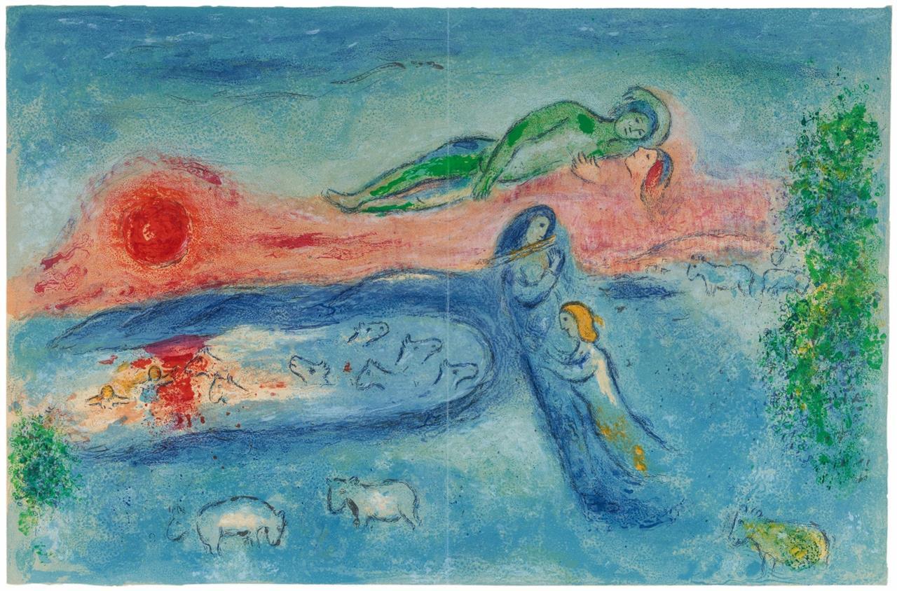 Marc Chagall. Mort de Dorcon (Aus: Daphnis et Chloe). 1961. Farblithographie.