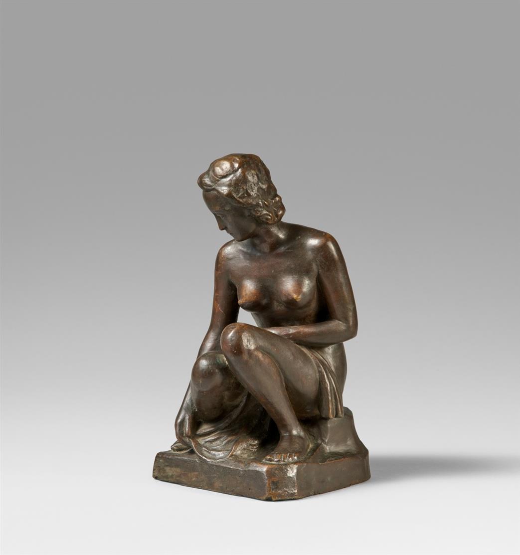 Peter Terkatz. Badende (Frauenakt). Bronze. Signiert.