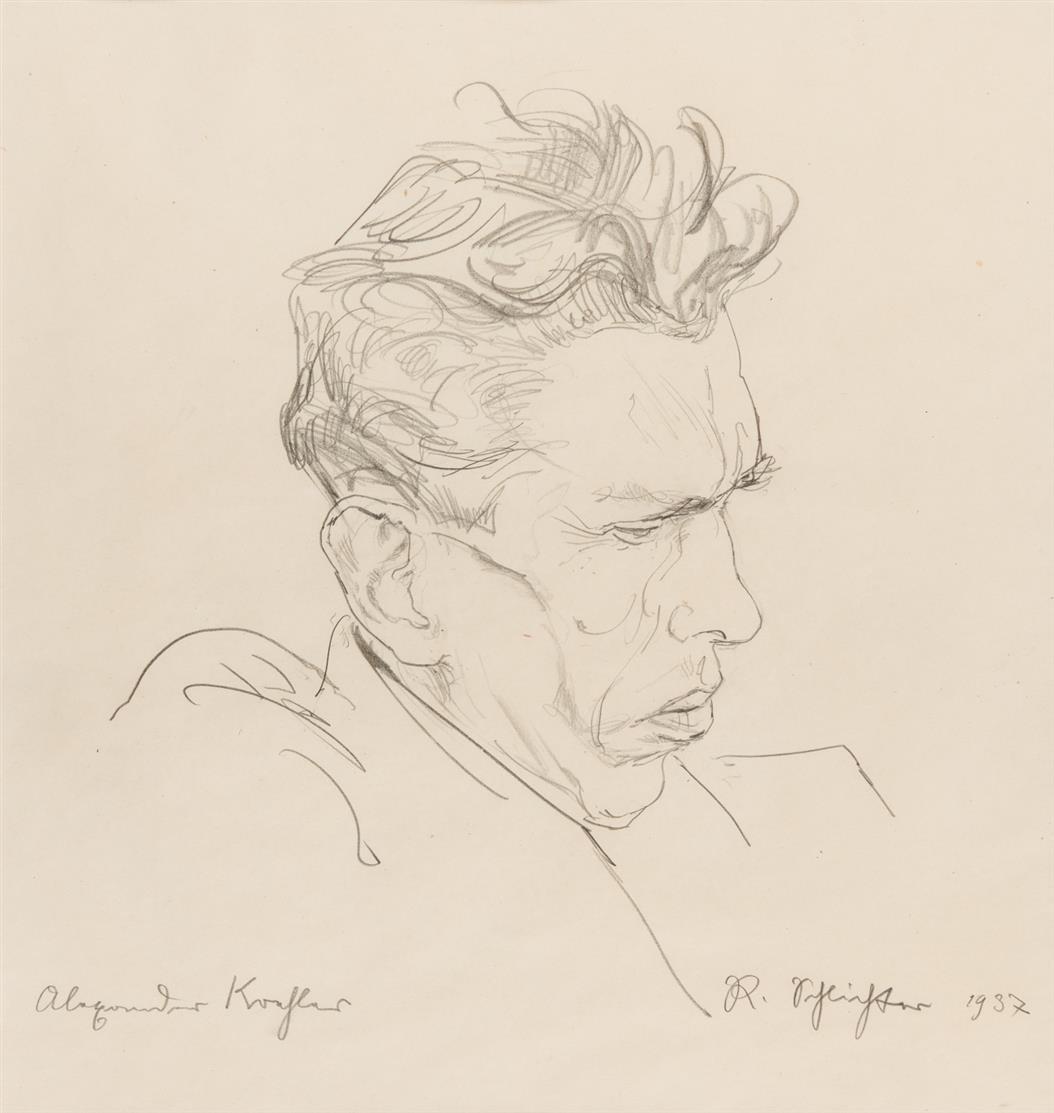 Rudolf Schlichter. Bildnis Alexander Koehler. 1937. Bleistift. Signiert.
