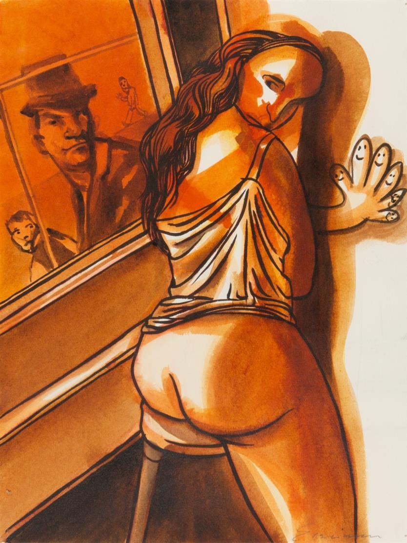Nicole Eisenman. Ohne Titel. (2002). Aquarell und Tusche. Signiert.