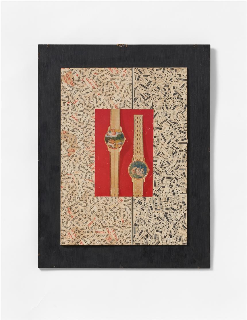 Jiri Kolár. Ohne Titel (Uhren). 1967. Collage und Chiasmage. Monogrammiert, verso signiert.