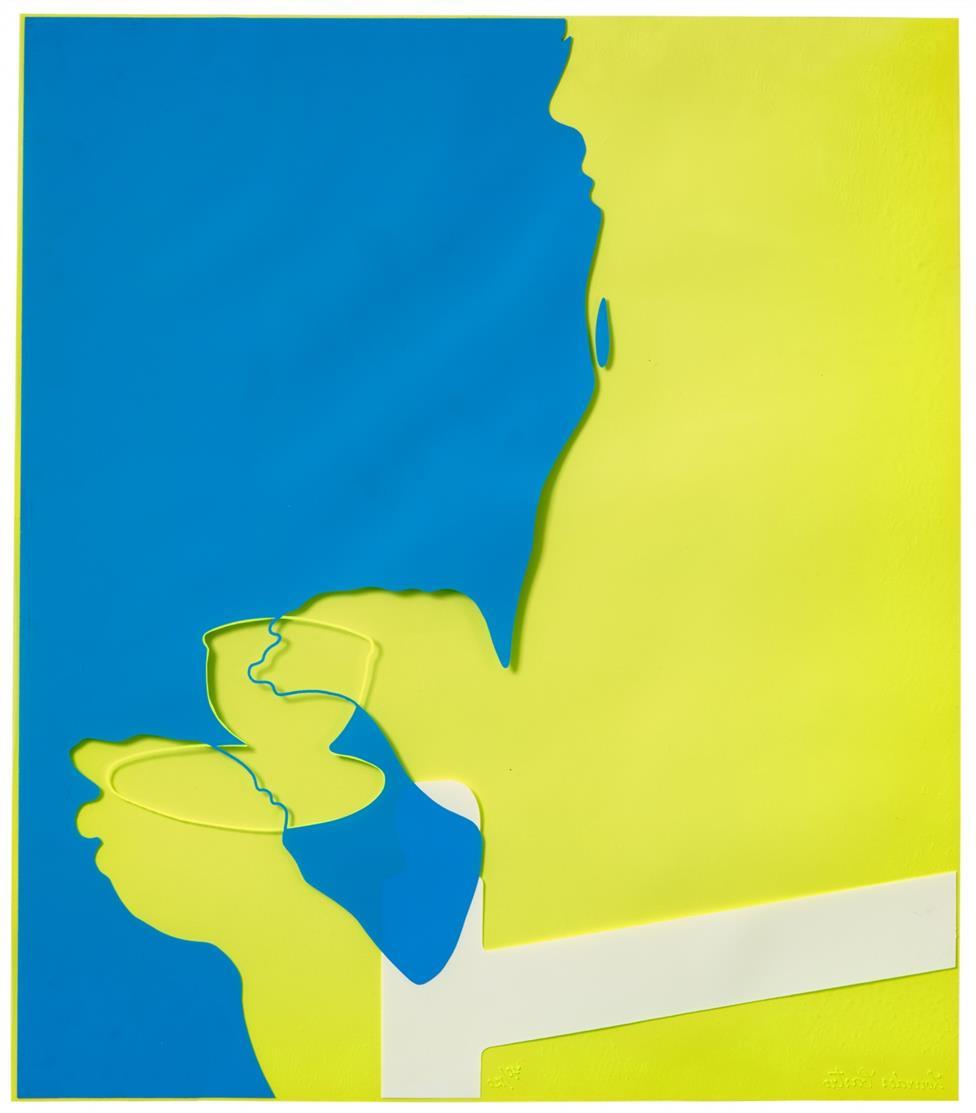 Lourdes Castro. Pause Café. Farbserigrafie auf gelbfarbenem Rhodoid. Signiert. Ex. 70/120.