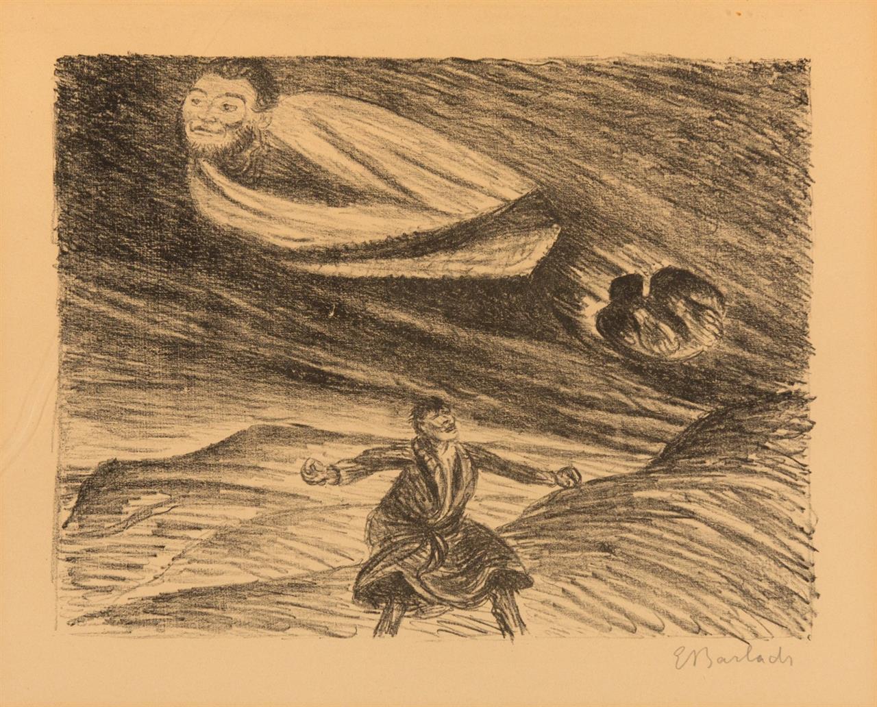 Ernst Barlach. Armer Vetter und hoher Herr. 1919. Lithographie. Signiert. Schult 128.
