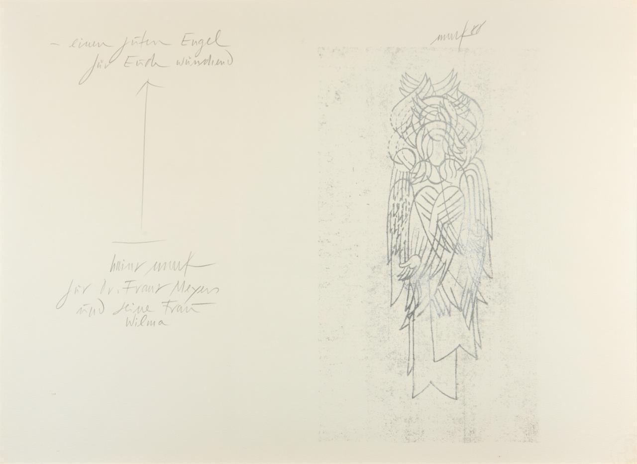 Heinz Mack. Engel. Handdruck mit Widmung. 1988. Signiert.