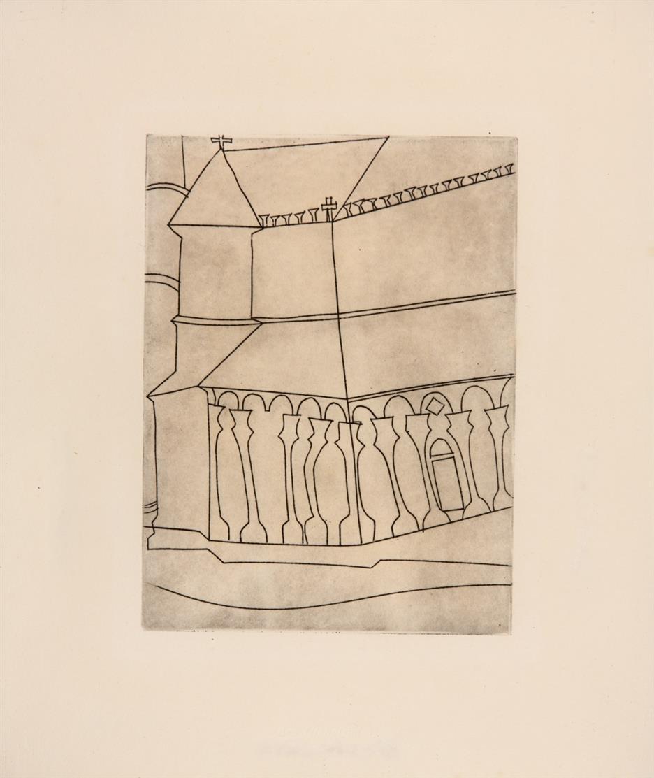 Ben Nicholson. Fragment of a Tuscan Cathedral. 1965/66. Radierung. Exemplar 76 von 380.
