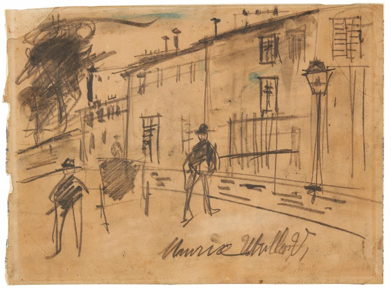 Maurice Utrillo. Straßenszene. Bleistift mit Aquarell. Signiert.