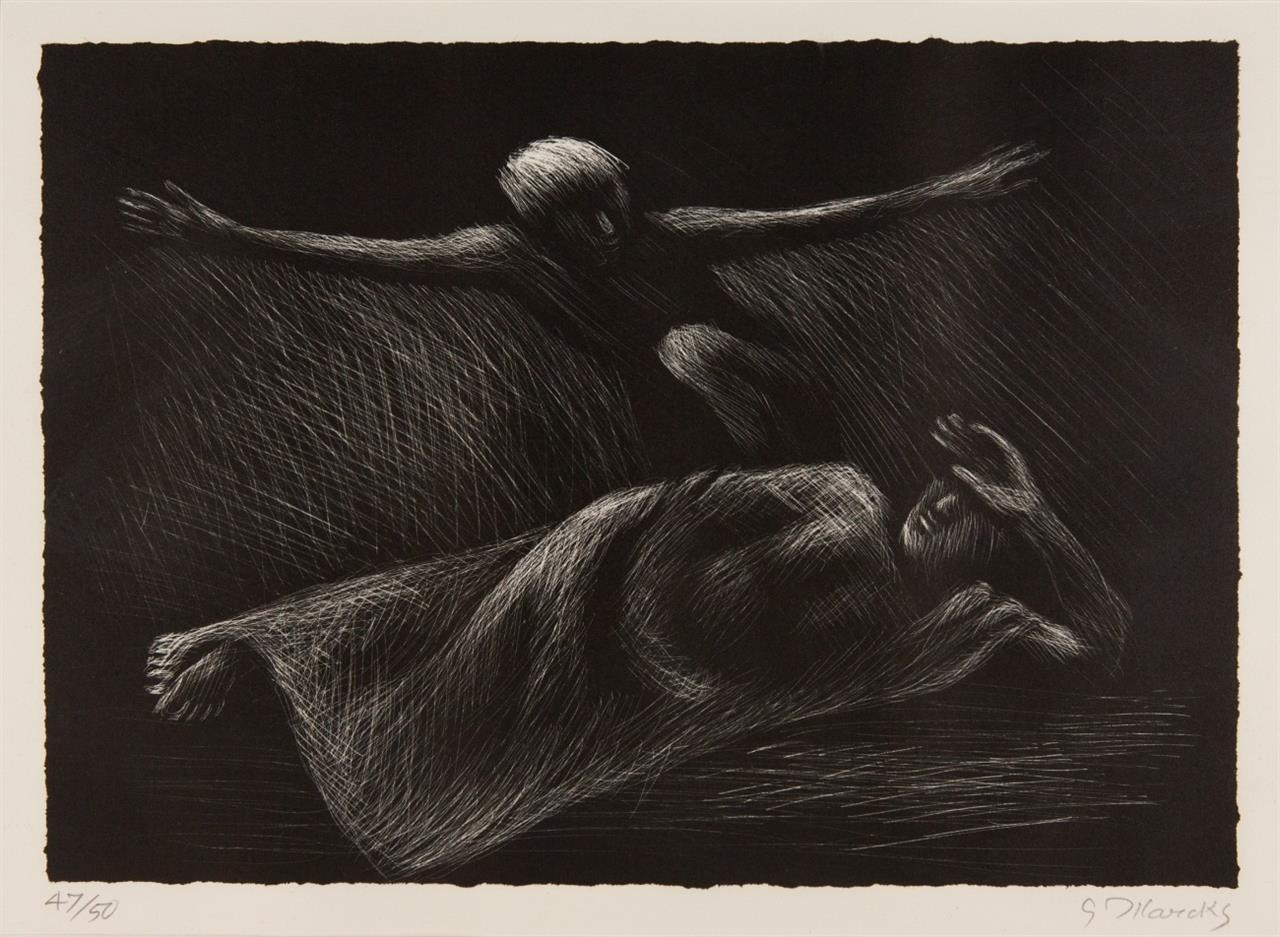 Gerhard Marcks. Kornfeld mit Wolke 1957 / Traum 1972. Holzschnitt bzw. Lithographie. Jeweils signiert. Ex. 41/50 bzw. 47/50. Lammek H287, L72.
