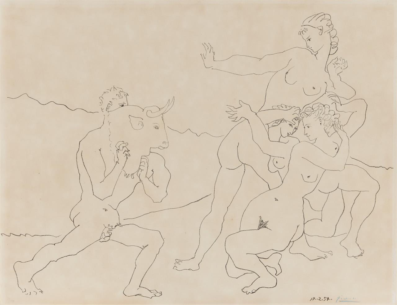 Pablo Picasso. Le jeu du Taureau. 1954. Lithographie. Signiert. B. 751.
