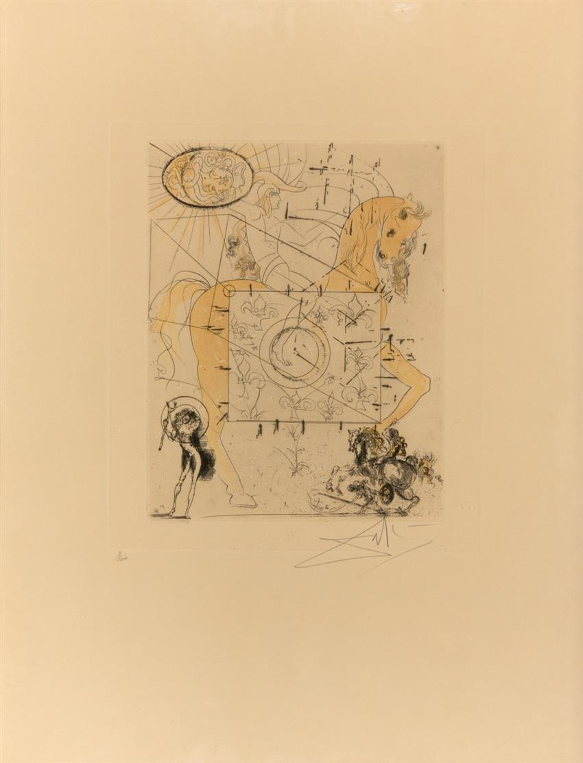 Salvador Dalí. Cheval Royal. 1970. Radierung mit Aquatinta. Signiert. Ex. 2/100. ML 429.