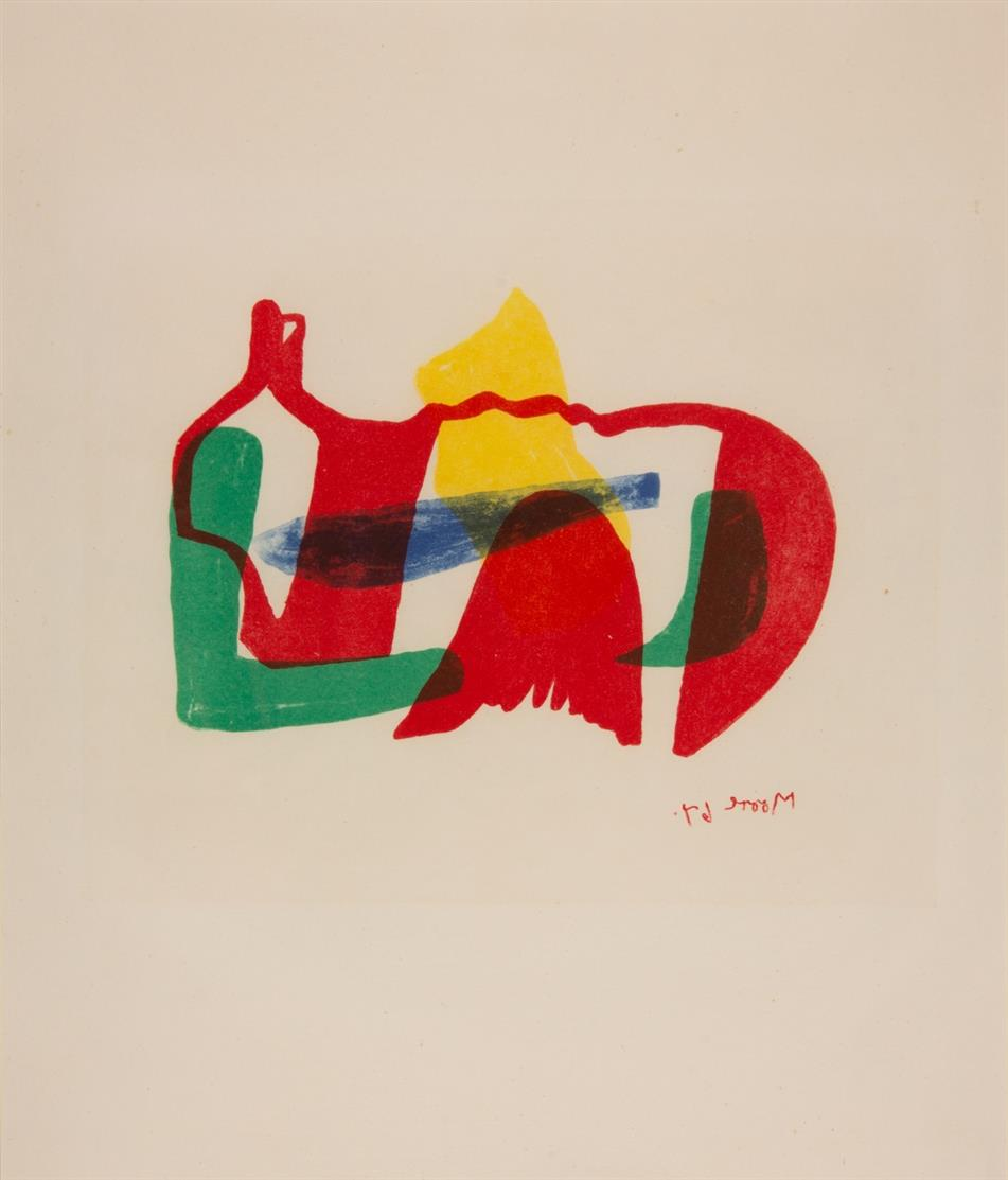 Henry Moore. Multicoloured reclining figure. 1967. Farblithographie. Ex. 76/380. C. 99.