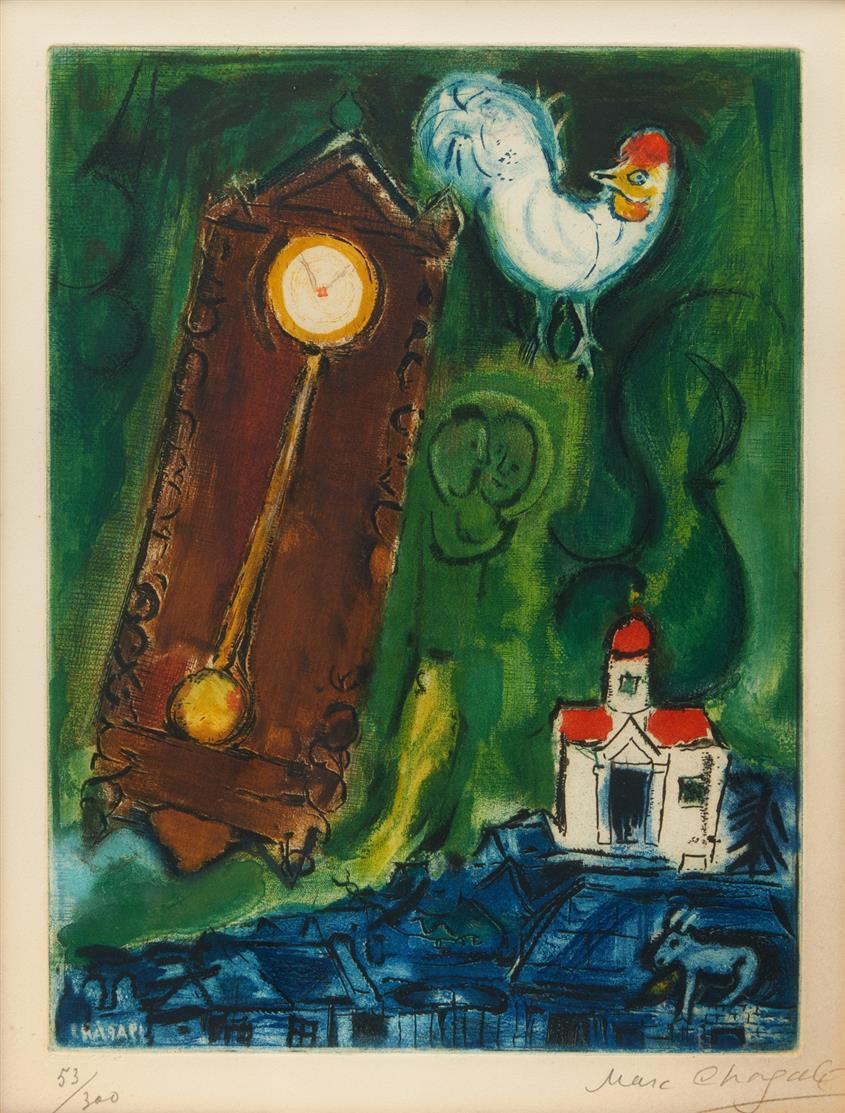 Marc Chagall. L'Horloge. 1956. Farbradierung. Signiert. Ex. 53/300.