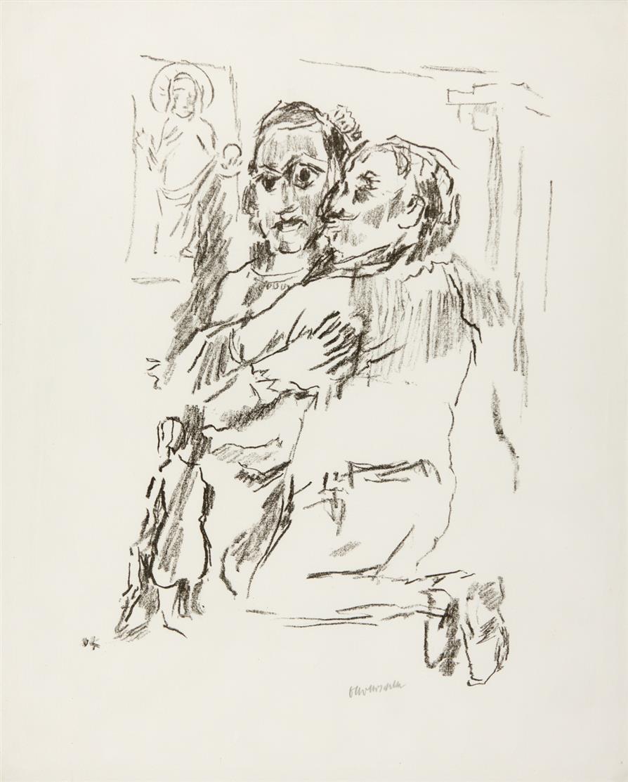 Oskar Kokoschka. Königin Christine mit dem spanischen Gesandten. 1975/76. Lithographie. WW 509.