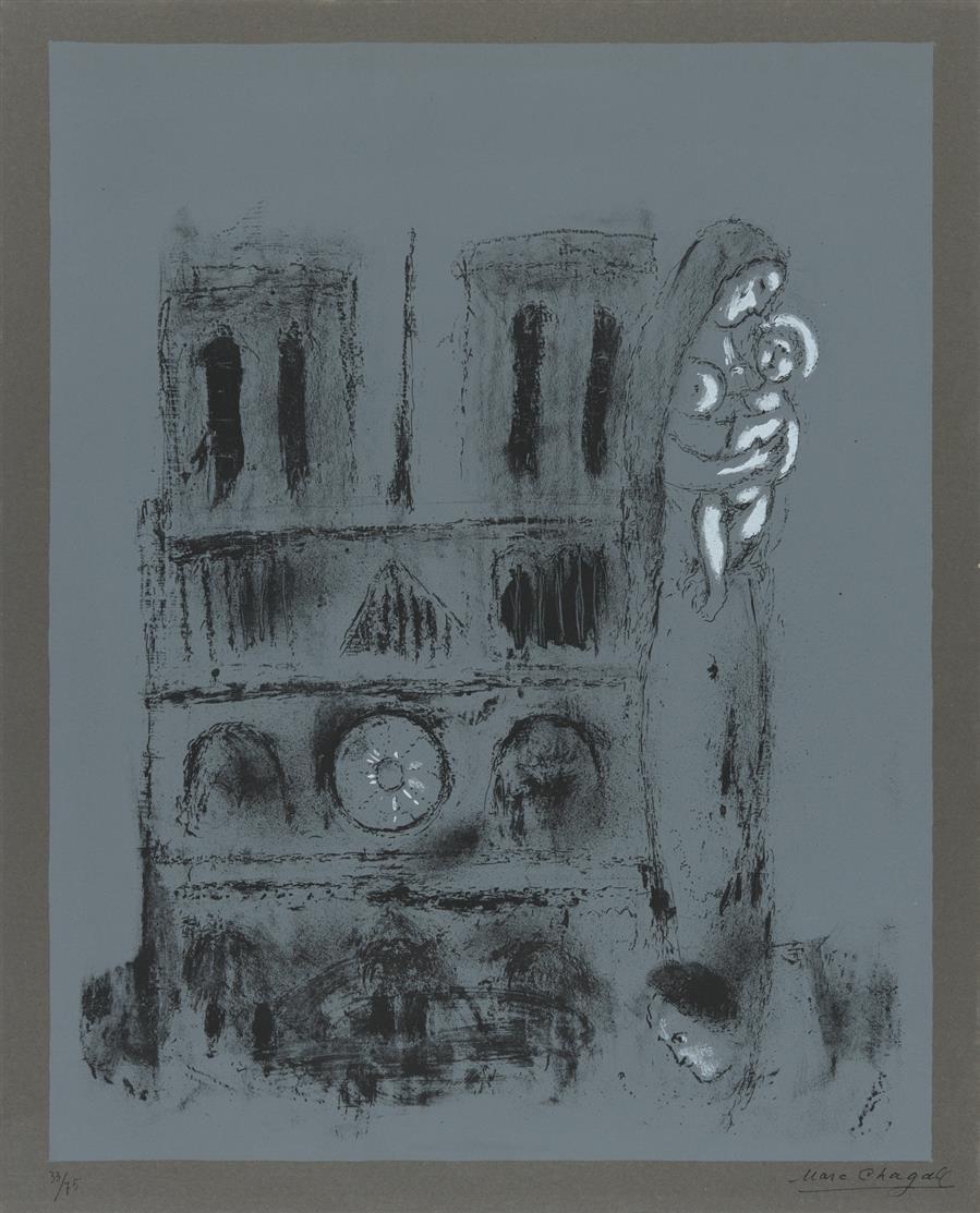 Marc Chagall. Notre Dame en gris.1955. Farblithographie. Signiert. Ex. 33/75. Mourlot 113.
