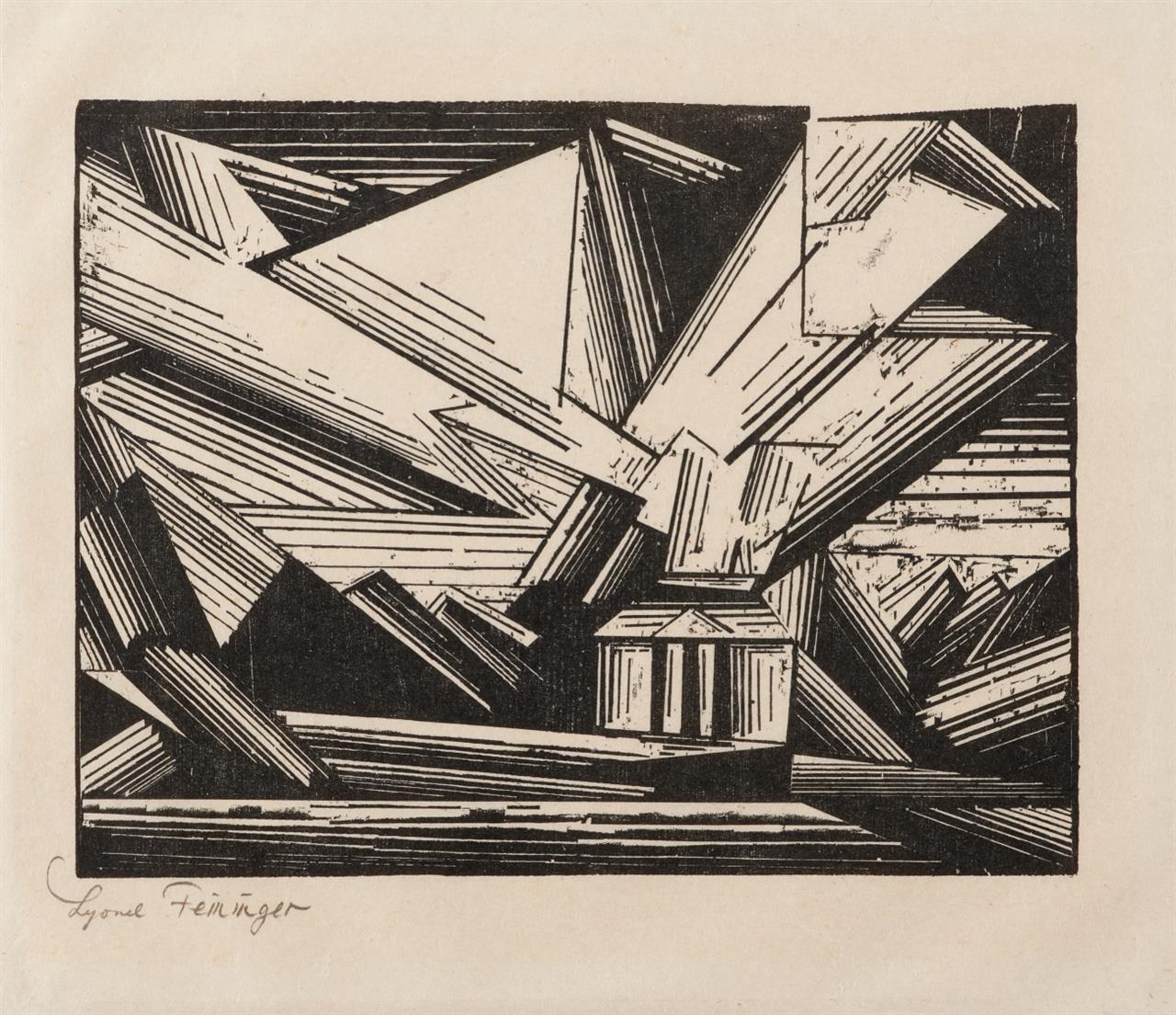 Lyonel Feininger. Villa am Strande, 4. (1921). Holzschnitt. Signiert. Prasse W 226.