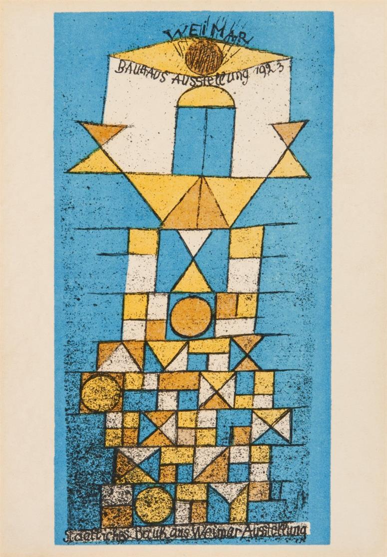 Paul Klee, nach. Die erhabene Seite. Postkarte zur Bauhausausstellung 1923. Farblithographie. Kornfeld 88 IIIb.