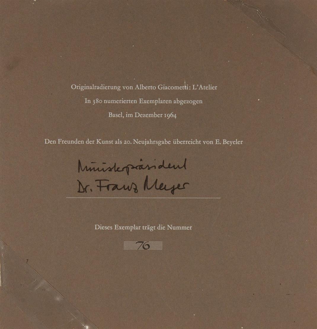 Alberto Giacometti. L'Atelier. 1964. Radierung. Ex. 76/380.