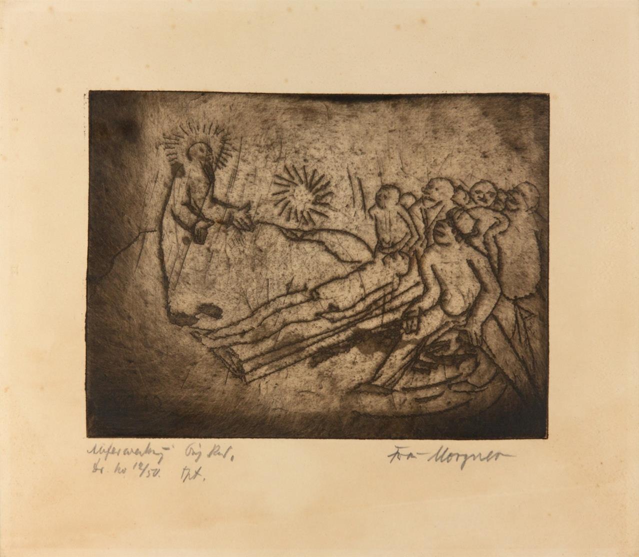 Wilhelm Morgner. Auferweckung. 1912. Radierung. Ex. 12/50. Witte 7.