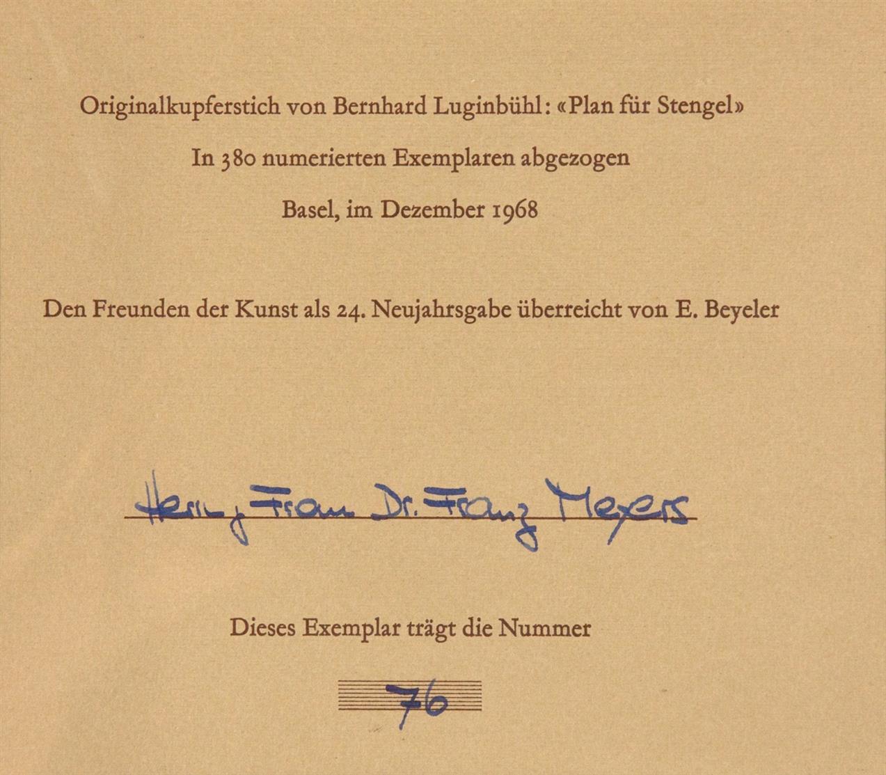 Bernhard Luginbühl. Plan für Stengel. 1968. Radierung. Monogrammiert. Ex. 76/380.