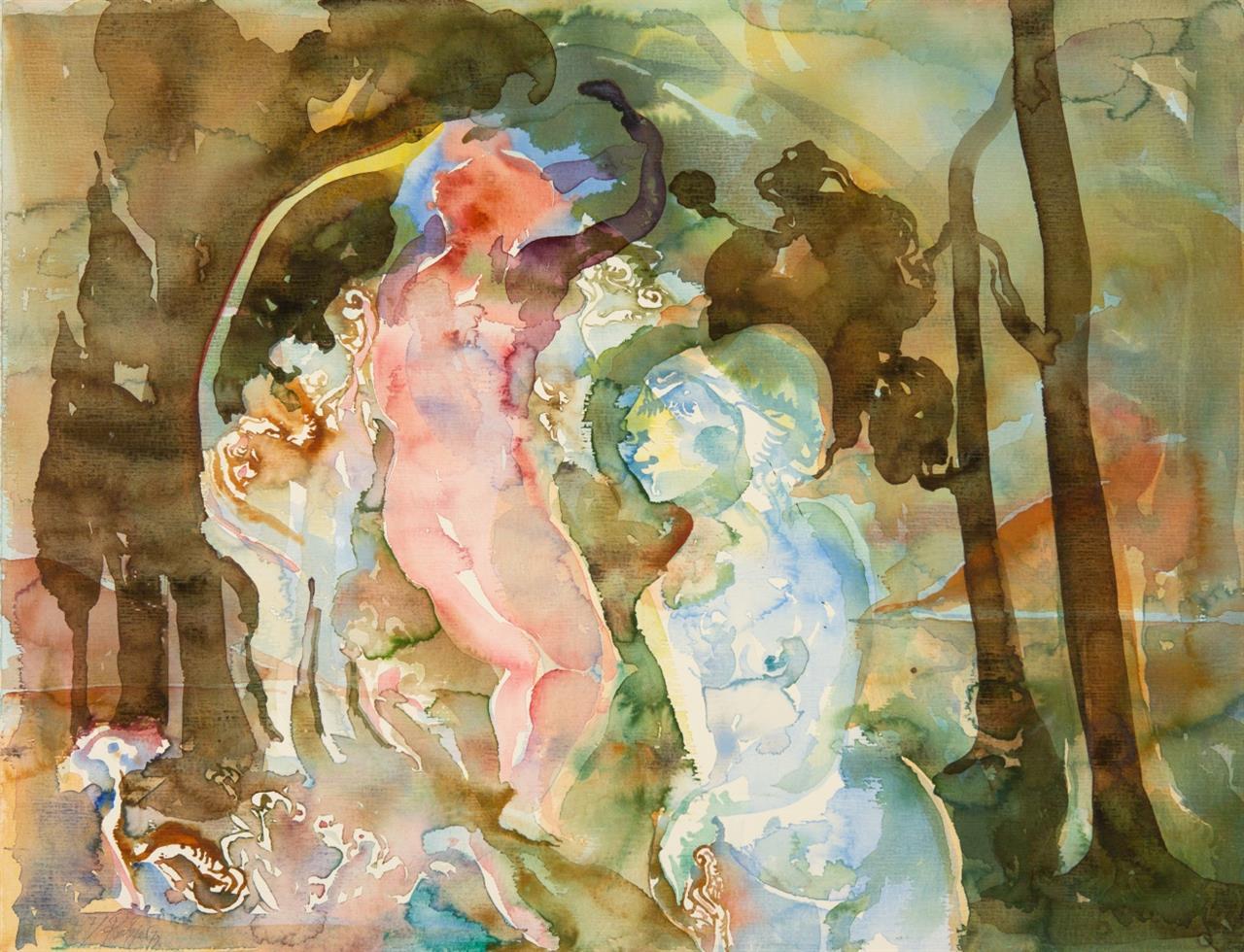 Heinrich Richter. Ohne Titel. 1972. Aquarell. Signiert.